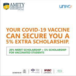 Amity Online Acknowledges Responsible Indians with Their Vaccination Linked Scholarships